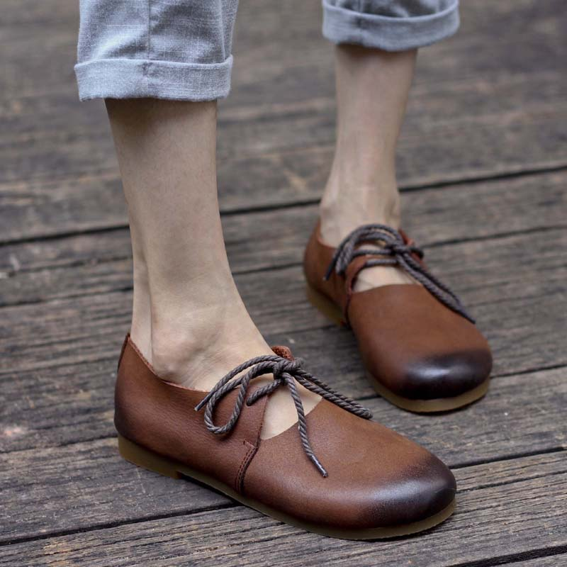 Women s Shoes Plain toe Lace up Flat Shoes Hand made Genuine Leather Women Flat shoes