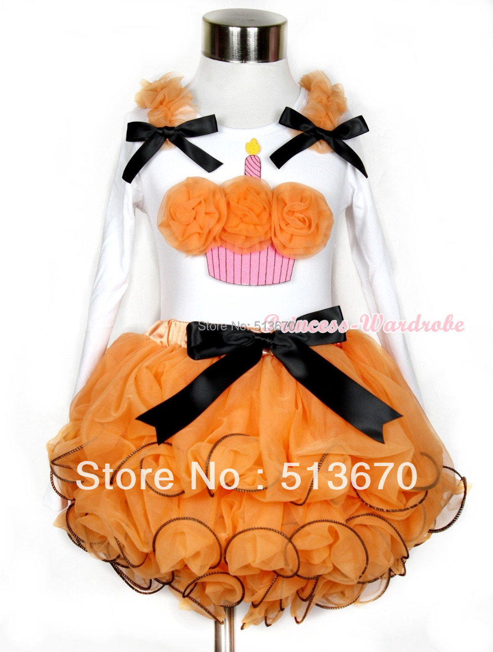 Halloween White Top Orange Birthday Cake Baby Girl Orange Petal Skirt NB-8Year MAMW284 цены онлайн