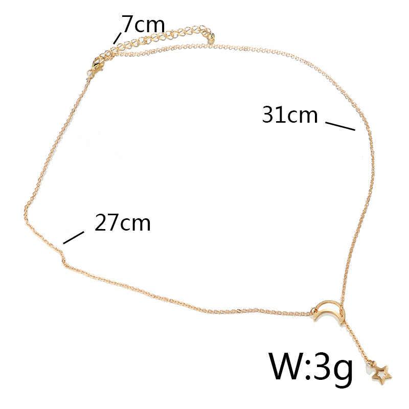 ファッションムーンスターチェーンボヘミアネックレスヴィンテージシンプルなゴールドシルバーペンダント女性ガールビジュー collares デ · モーダ