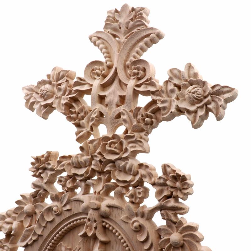 RUNBAZEF Vintage decoración del hogar flores talladas Esquina de madera aplique puerta de pared armario muebles figuras decorativas para miniatura-in Figuras y miniaturas from Hogar y Mascotas    3