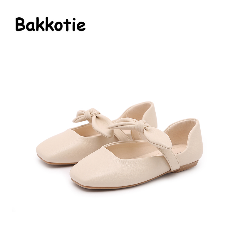Bakkotie 2018 Spring New Fashion Mary Jane Pu Leather Square head Child Baby Casual Princess Shoe Flat Bow kid Brand Sweet Girl