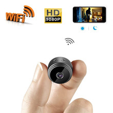 лучшая цена New HD 1080P Mini WiFi Camera Wide-angle Indoor Night Vision Tiny Camcorder Apartment Security Nanny Cam with Motion Detection