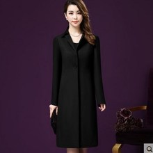 Women Black Red Beige Long Sleeve Trench Coat Plus Size