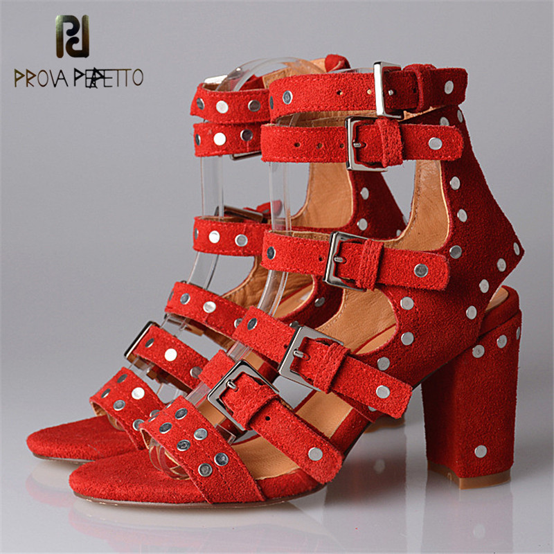Prova Perfetto 2018 New Designer Rome Style Woman Sandals Korean Style Cross-tied Buckle Strap High Heel with Rivet Sandals v cut solid romper with tied strap
