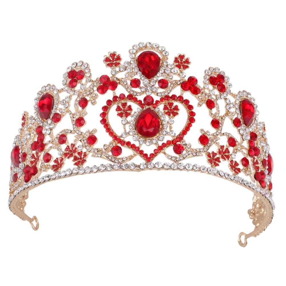 クリスタルビッグクラウンウェディングティアラヘアアクセサリーゴールド赤ブライダルヘッドピース王女美容クラウンヘッドバンド