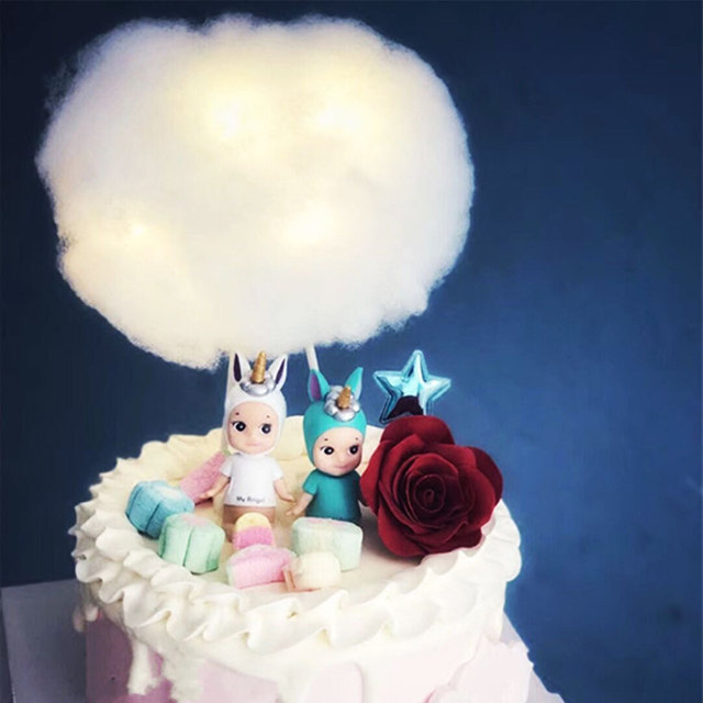 1pcs Led 3d Cotton Clouds Cake Topper For Birthday Party Baby Shower