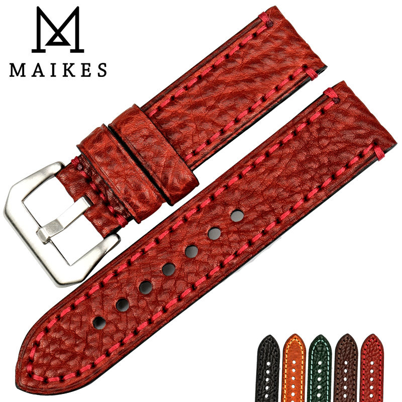MAIKES New Fashion Watch Accessories 20 22 24 26mm Italian Leather Watchbands Red Watch Strap For Panerai Watch Band Bracelet