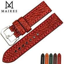 "MAIKES אופנה חדשה לצפות watchbands עור איטלקי אבזרים 20 22 24 26 מ""מ אדום רצועת שעון לpanerai שעונים בנד צמיד"