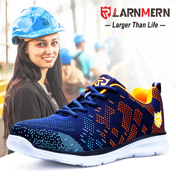 LARNMERN Women's Steel Toe Safety Work Shoes For Wonmen Lightweight Breathable Anti-smashing Anti-puncture  Construction Sneaker