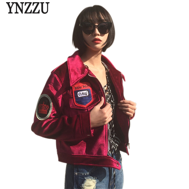 2016 New Arrival Winter Women Jackets Fashion Wine Red Short Velvet Coat Patch Designs Turn down
