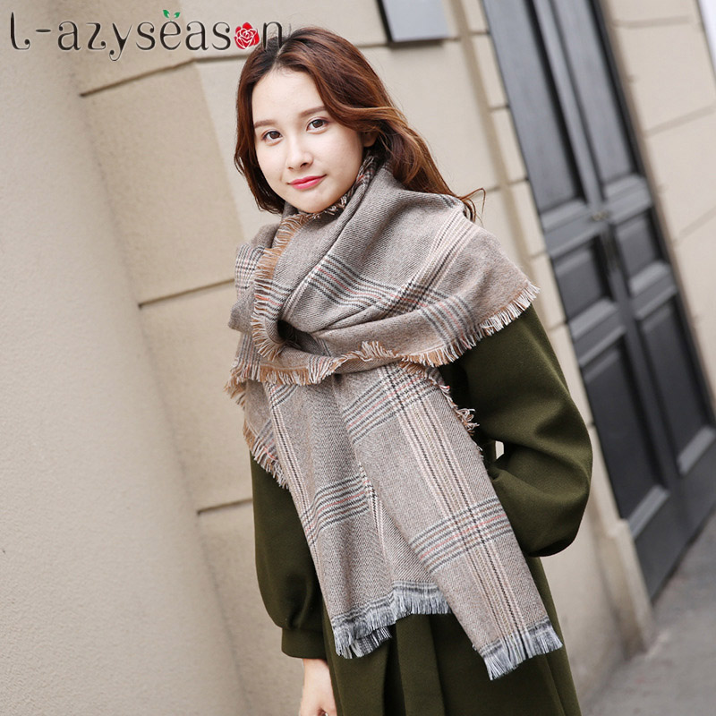 2017 Winter Brand Women's Cashmere   Scarf   Plaid Oversized plaid Multifunction Thicken Blanket Warm   Scarves     Wraps   cape Shawl