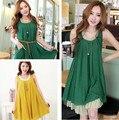 2016 мода женщины платье без рукавов с оборками богемия женщина свободного покроя платье белье свободно старинные Большой размер леди платье зеленого, Желтый