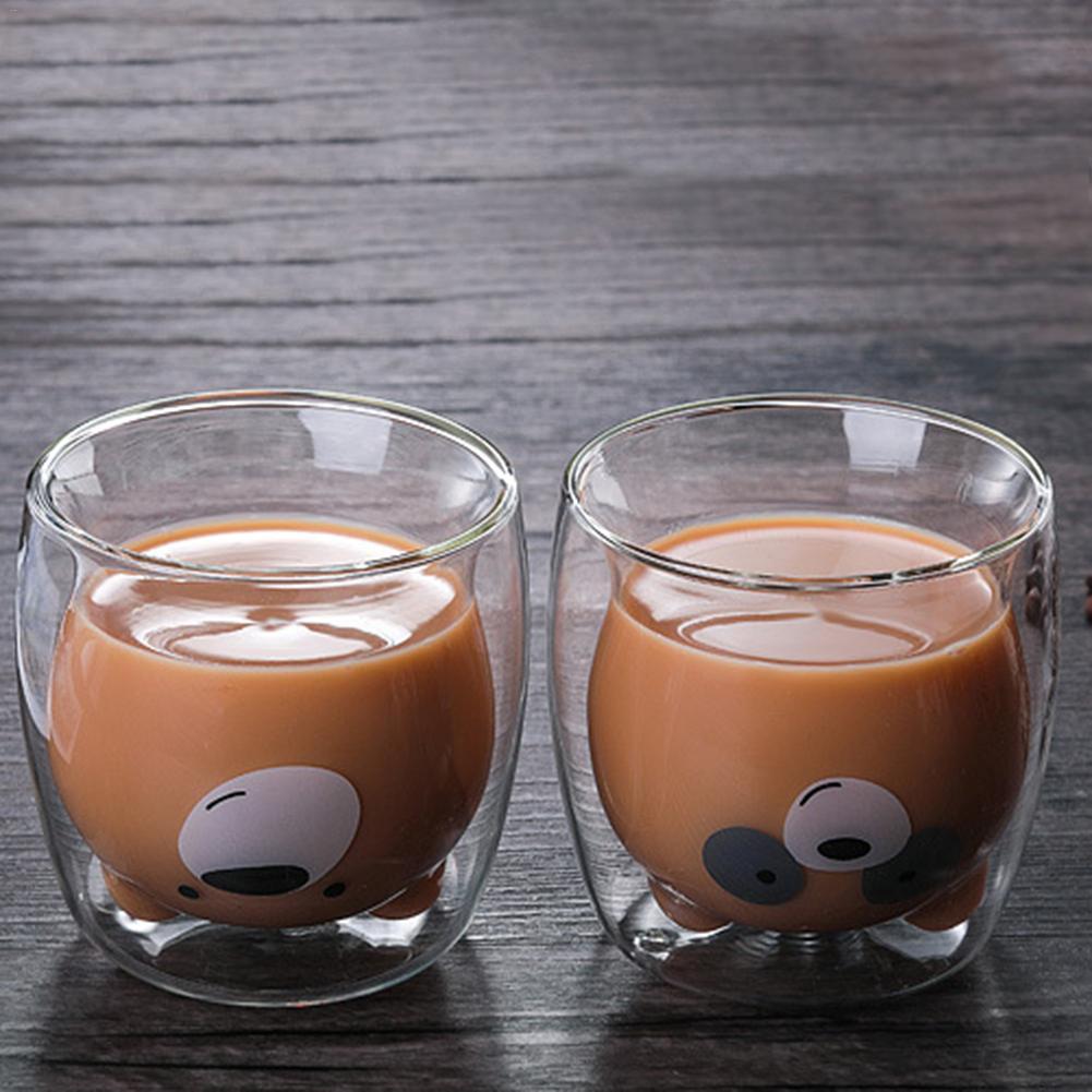 Креативная прозрачная стеклянная кружка с двойными стенками, мультяшный медведь, кошка, утка, кофейная кружка, Молочный Сок, милая чашка, отправить подруге подарок, кошачья лапа, чашка