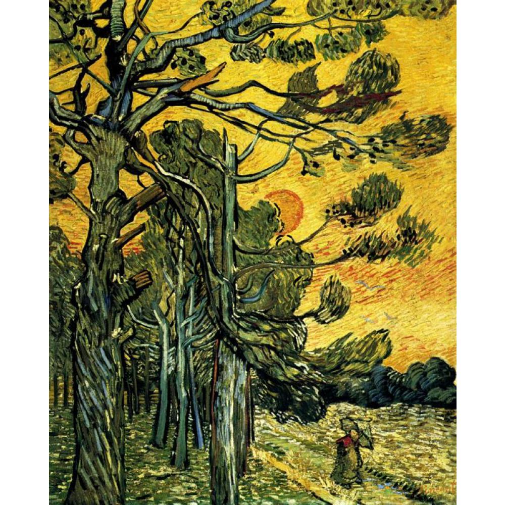 松の木に対して赤スカイで夕日によるヴィンセント·ヴァン·ゴッホの油絵再現キャンバスアート手描きホームインテリア