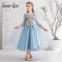 Lover Kiss Pretty Tea Length Blue And Grey Floral Lace First Communion Dresses For Girls Specail