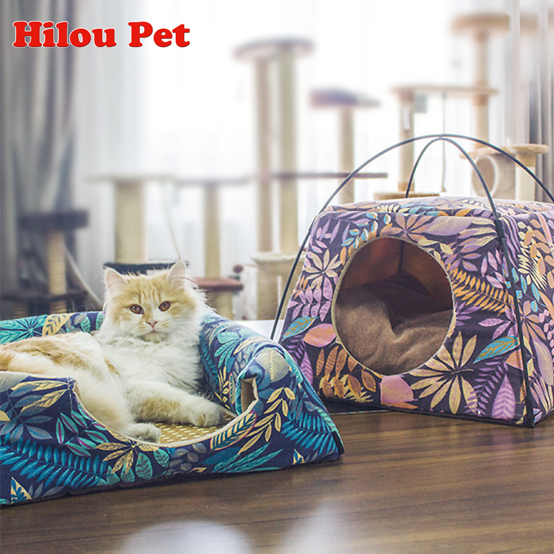 Cat House New Arrive Leaves Pattern Creative Dual-use Cat Bed Machine Wash All Season Sleeping Bag For Cat Pet Supplies
