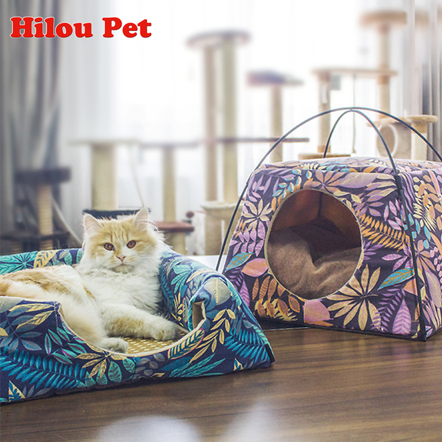 Cat House 2018 New Arrive Leaves Pattern Creative Dual-use Cat Bed Machine Wash All Season Sleeping Bag for Cat Pet Supplies