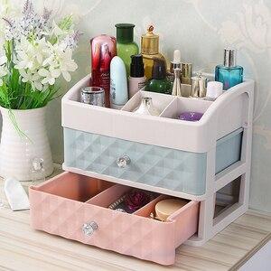 Image 4 - פלסטיק מגירת איפור ארגונית קוסמטי יופי תיבת נייל שולחן העבודה אחסון מקרה מברשת שפתון לק מיכל אמבטיה פריט