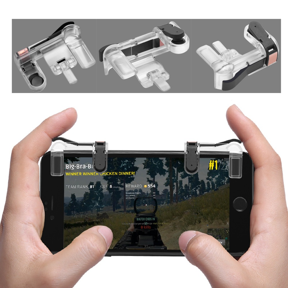 MASiKEN 1Pair PUBG Mobile Game Fire Button Aim Key Smart phone Gaming Trigger L1 R1 Shooter Controller Transparent V3.0 все цены