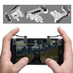 MASiKEN 1Pair PUBG Mobile Game Fire Button Aim Key Smart phone Gaming Trigger L1 R1 Shooter Controller Transparent V3.0