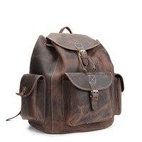 Винтаж натуральная Crazy Horse натуральной кожи рюкзак Для мужчин большой Ёмкость дорожная сумка для человека MS8891