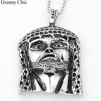 Granny Chic Fashion Jewelry for Men Silver Stainless Steel Ethnic Huge Jesus Face Pendant Box Necklace