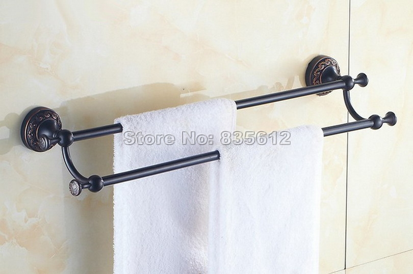 Bathroom Accessory Black Oil Rubbed Bronze Double Towel Bar Wall Mount Towel Rack Wba462 oil rubbed bronze black bathroom accessory wall mounted toilet toothbrush holder towel rack bar storage shelf