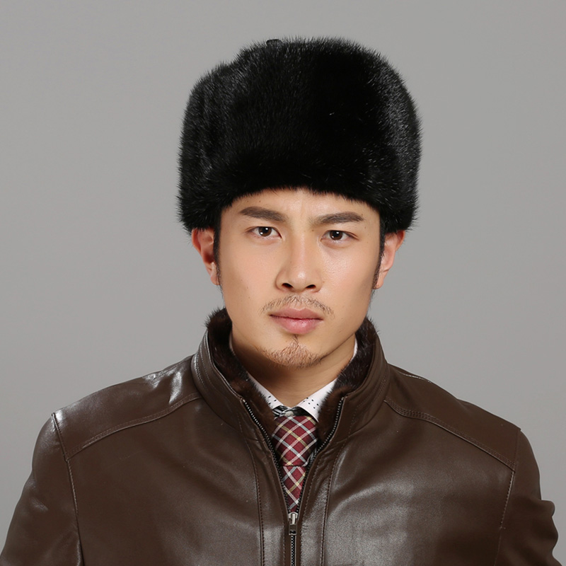 Snow Leifeng hats for quinquagenarian russian men genuine fur import mink fur bomber hat winter fur with solid crown cap