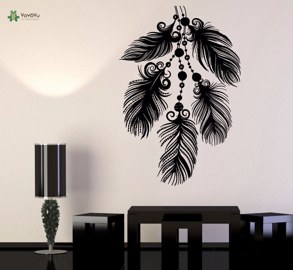 YOYOYU Vinyl Wall Decal Simple Feather Ethnic Style Beautiful Elegant Living Room Home Art Decoration Stickers FD234 in Wall Stickers from Home Garden