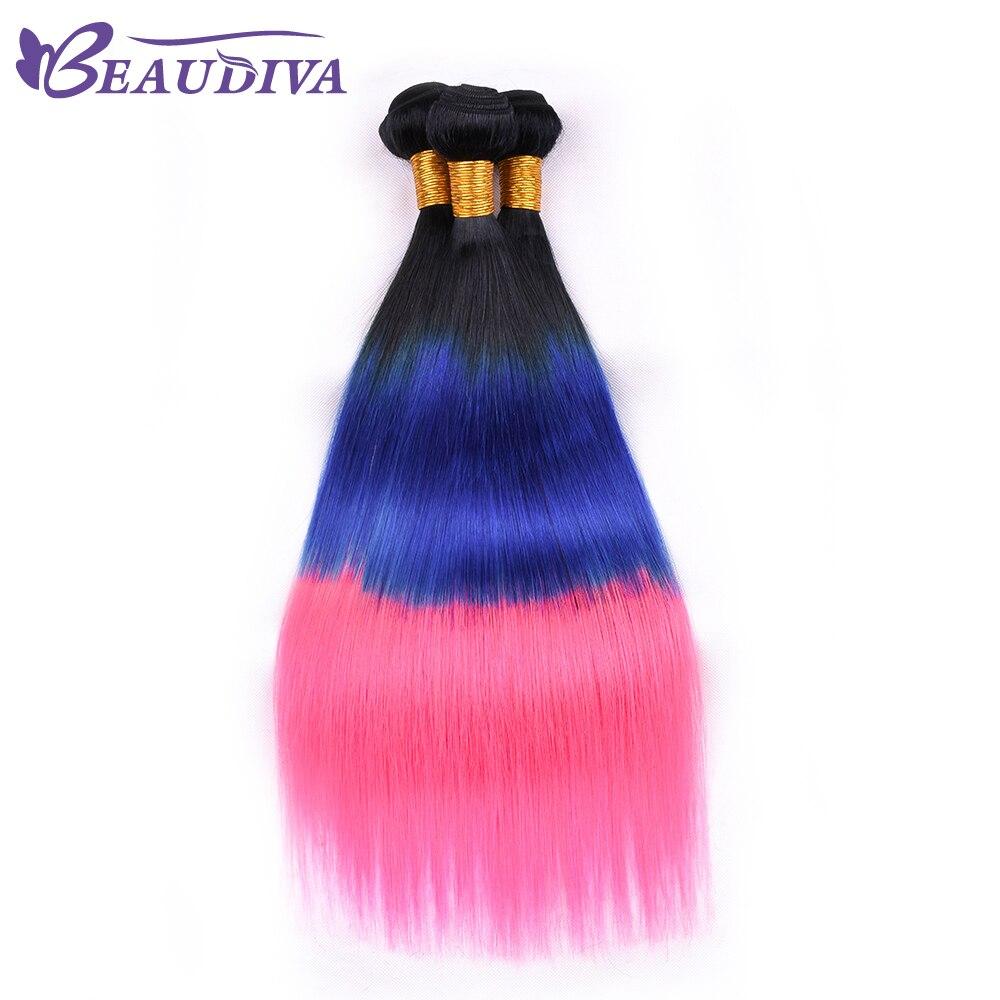 Peruvian Straight Remy Hair 100% Human Hair Weave Bundles 1B/Blue/Pink Free Shipping 4 bundle Shedding Free
