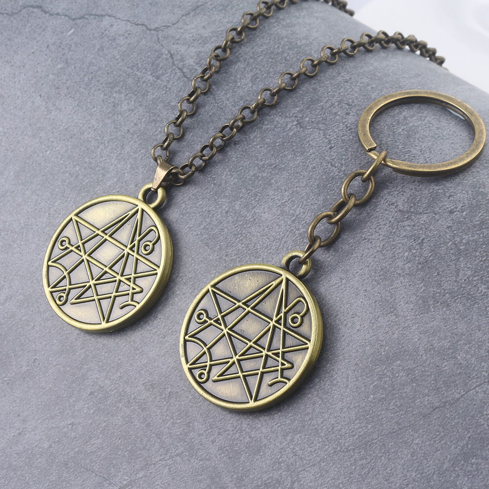 Through The Gates of Silver Key Keychain Tales of the Cthulhu Mythos Outer God Yog-Sothoth Star System Logo Keyring Chaveiro broad paracord