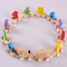 2016 New Hot Montessori Baby Toy Wooden Digital Small Train Vehicle Blocks Eduactional Wooden Toys Birthday Gift For Children