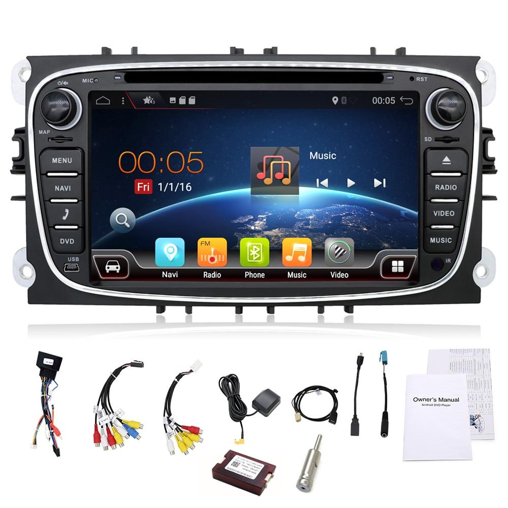 2 din Android 7.1 Quad Core DVD Player Do Carro GPS Navi para Ford Focus Mondeo Galaxy com Rádio de Áudio Estéreo unidade de cabeça Canbus Livre