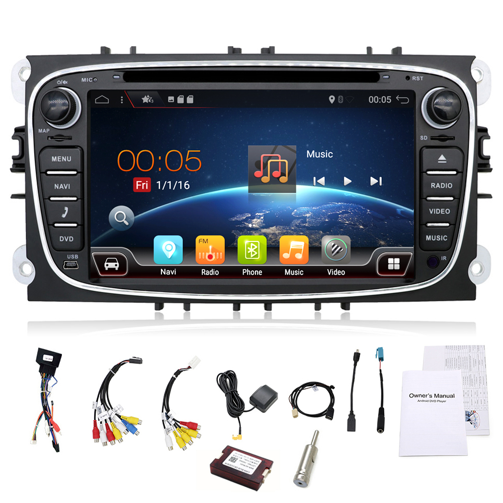 2 din Android 7.1 Quad Core Car DVD Player GPS Navi for Ford Focus Mondeo Galaxy with Audio Radio Stereo Head Unit Free Canbus