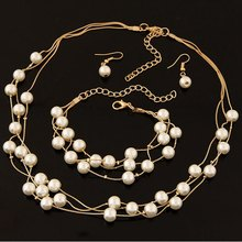 Simulated Pearl Double Layer Women Earrings Necklace Bracelet Sets Imitation Pearl Jewelry Set For Wedding 2017(China)