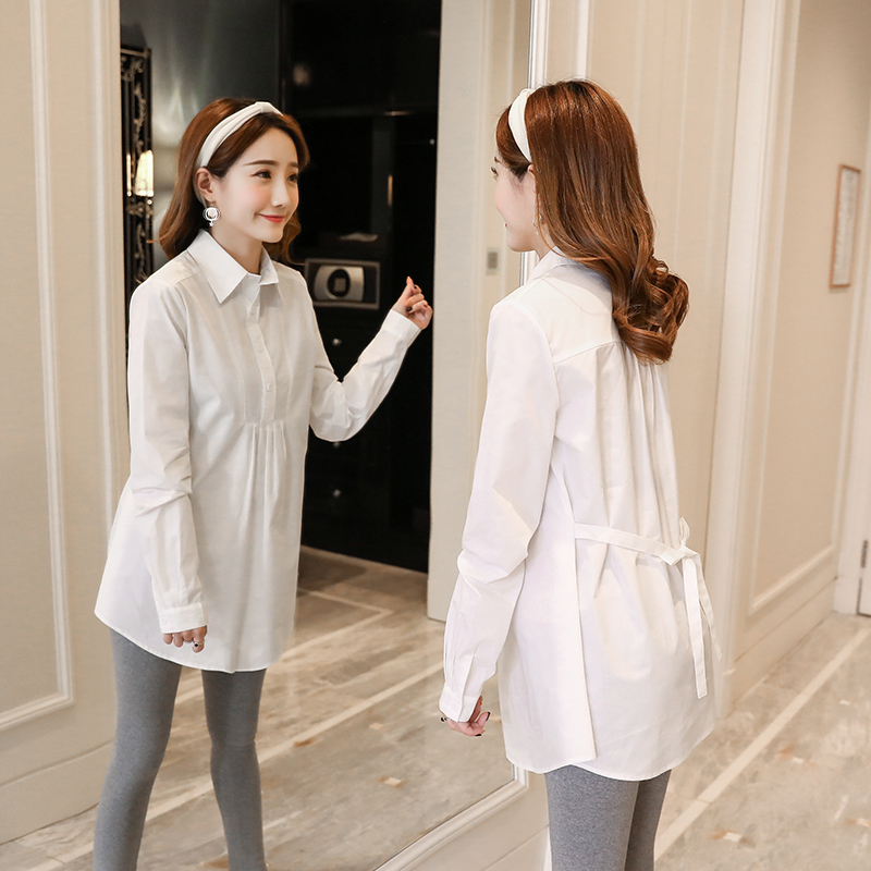 1801# Ol Formal Work Maternity Blouses A Line Loose Ties Waist Shirts Clothes For Pregnant Women Spring Autumn Pregnancy Tops Blouses &shirts