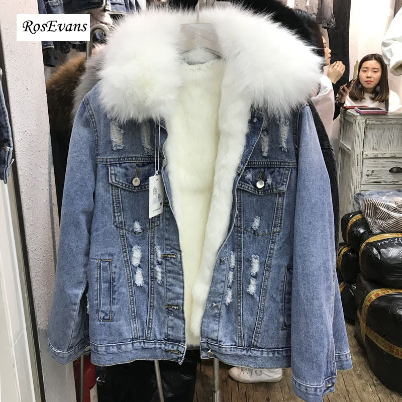 RosEvans New Real Fur Causal Jacket 2018 Winter Natural Fur Collar with Warm Real Rabbit Fur Inner Jean Jacket Coat Female B667