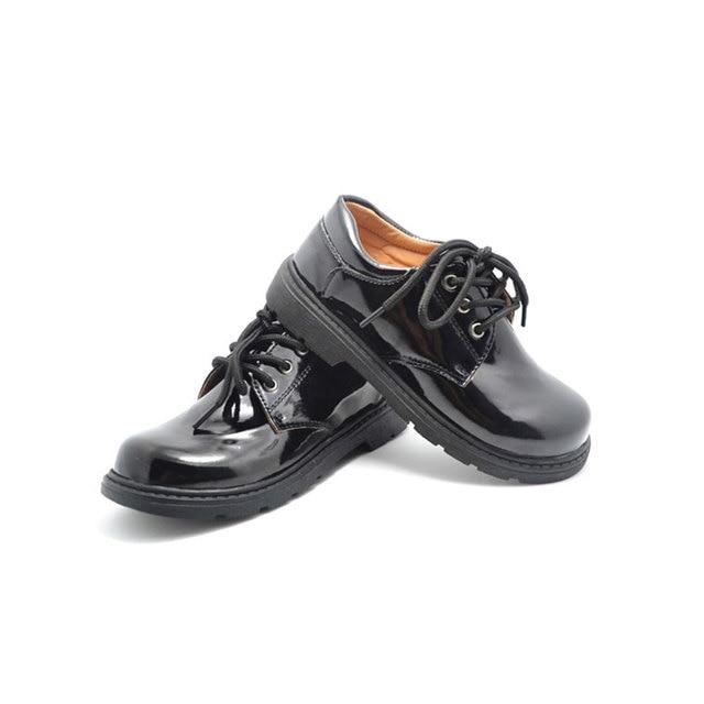 6e6934fd1b06 MSMAX Children Patent Leather Shoes Flat Boys Lace Up Breathable School Wedding  Shoes Unisex Kids Black Round Toe Single Shoes