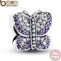 Excelente Impresionante 925 Sparkling Mariposa Púrpura CZ Animal Charm Pulsera Apta Jewelry Making PAS023