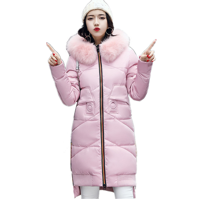 Winter Women Coat Long Plus Size Thick Hooded Big Fur Collar Solid Color Was Thin Cotton Warm High Quality Parkas Femme MZ1723 women winter coat leisure big yards hooded fur collar jacket thick warm cotton parkas new style female students overcoat ok238