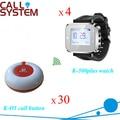 30 botões 4 relógios pager garçom sistema de chamada sem fio em 433.92 mhz hotel, Bar, Pub equipamentos