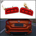 JDM Style Red LED Bumper Reflector Rear Marker Lights For 16-up Honda Civic 4DR ,Reflectors with taillight and brake light modes