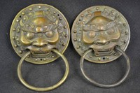 Copper Brass Exquisite Collectible A Pair of Elaborate Chinese Old Decorated Copper Lion Head Exorcise Door Holder Statues