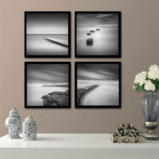 Black and white paintings for living room living room for Minimalist wall painting
