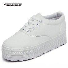 2016 Spring Platform Shoes Woman Casual Female Casual Shoes Women's White Black Colors Elevator Canvas Shoes Women's Flats
