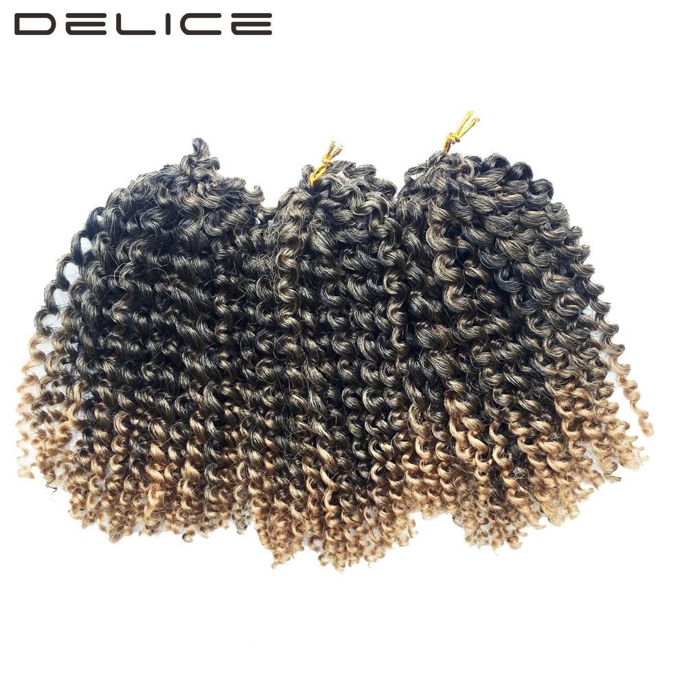 DELICE 8inch 3pcs/Lot Women Ombre Braiding Hair Kinky Twist Crochet Braids Synthetic Hair Extensions