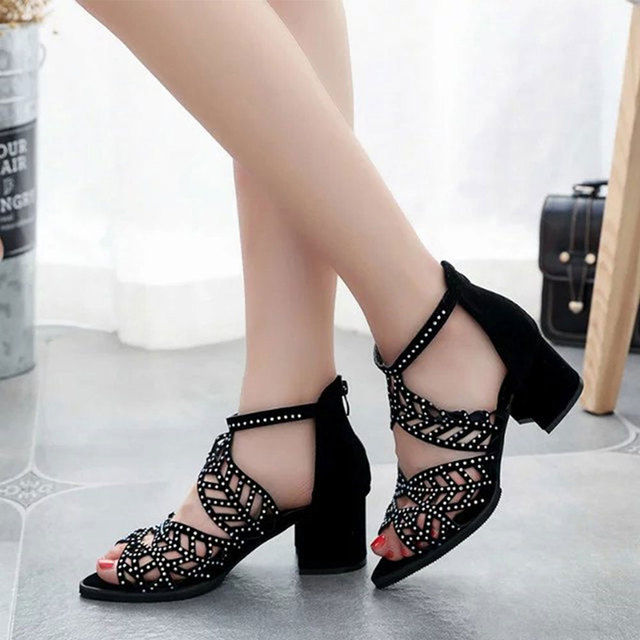 d8ff7151da US $18.0 25% OFF|Women Summer Hollow Out Faux Leather Rhinestones Thick  Heel Zipper Sandals Shoes -in High Heels from Shoes on Aliexpress.com | ...
