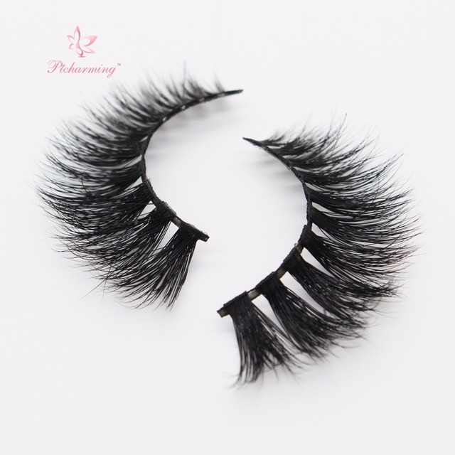 91586b4ae35 Ptcharming Handmade 100% Real Siberian Mink False Eyelash Individual  Eyelashes Extension 3D Faux Lashes-PTAME-D106