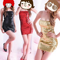 Summer Party Strapless Sexy Paillette Dress Dancewear Ds  Costume Evening Wear Dress Mini Short Sexy Sequins Dress For Party