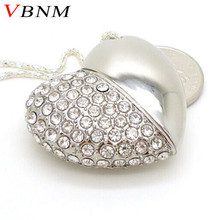 VBNM metal crystal love Heart USB Flash  Drive precious stone pen drive special gift pendrive 8GB/16GB diamante memory stick